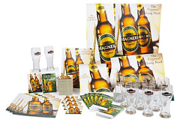 Complex group shot of promotional materials including posters, glasses and mats for Magners.