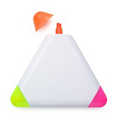 Traingular highlighter with three tips colours: orange, lime and pink.